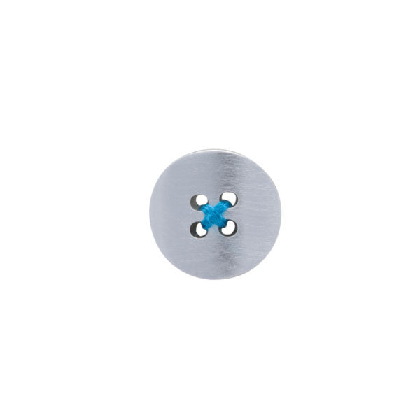 Brushed Metal Button Lapel Pin with Blue Thread by Elizabeth Parker