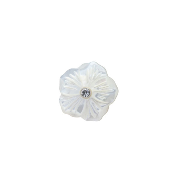 Mother Of Pearl Flower Lapel Pin by Elizabeth Parker
