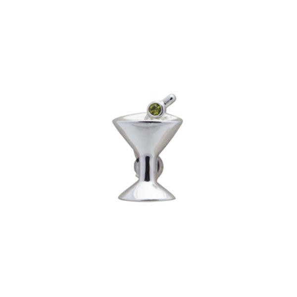 Green Olive Martini Glass Simply Metal Lapel Pin by Elizabeth Parker