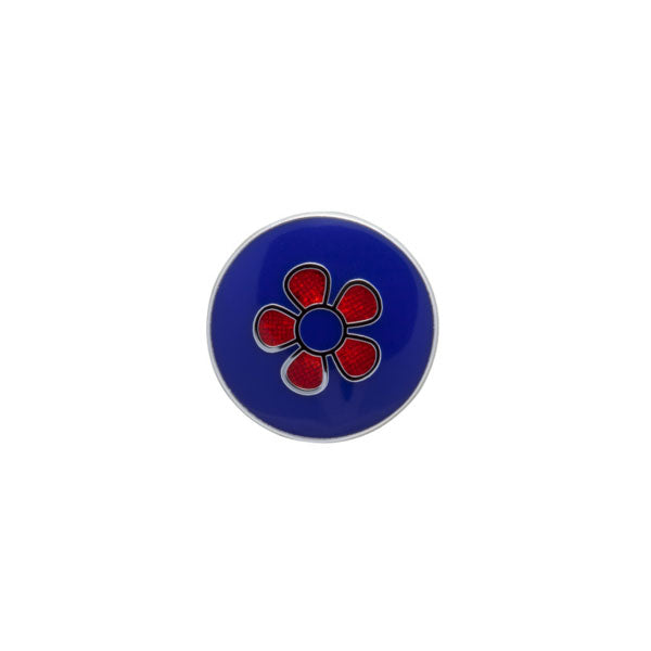 Round Red Flower Simply Metal Lapel Pin by Elizabeth Parker