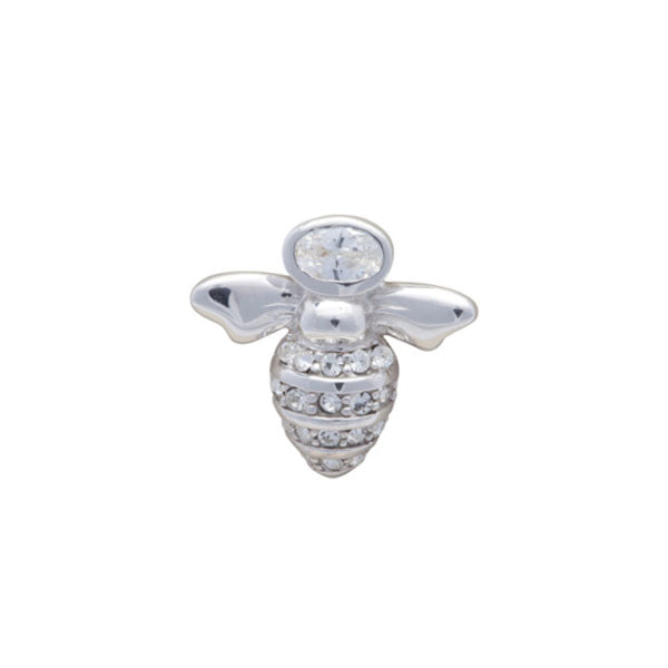 Clear Crystal Simply Metal Bee Lapel Pin by Elizabeth Parker