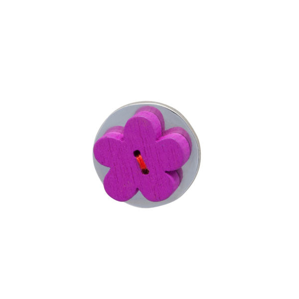 Purple Wooden Flower Lapel Pin by Elizabeth Parker