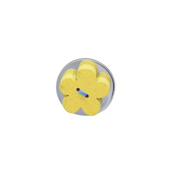 Yellow Wooden Flower Lapel Pin by Elizabeth Parker