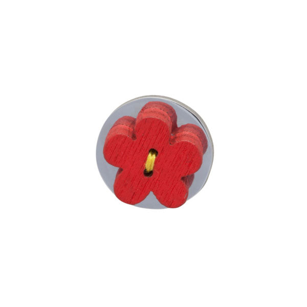 Red Wooden Flower Lapel Pin by Elizabeth Parker