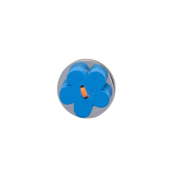 Blue Wooden Flower Lapel Pin by Elizabeth Parker