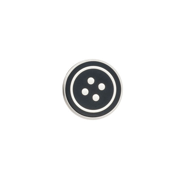 Round Black Enamel Button Lapel Pin by Elizabeth Parker
