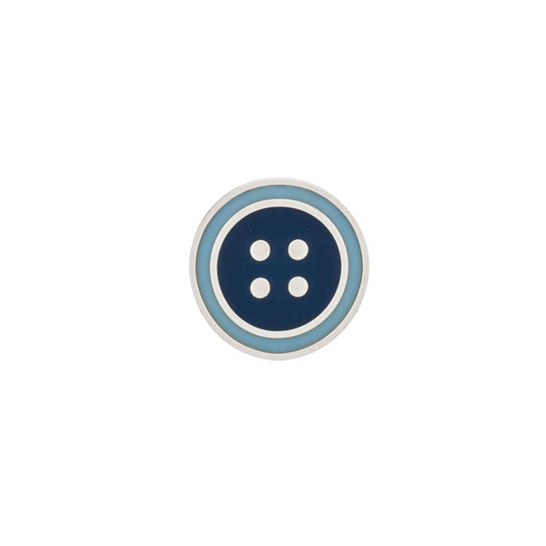 Round Dark Blue & Light Blue Enamel Button Lapel Pin by Elizabeth Parker