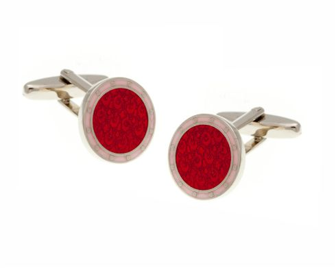 Embossed Red and Pink Cufflinks