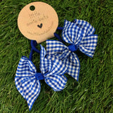 Royal Blue Gingham Bow