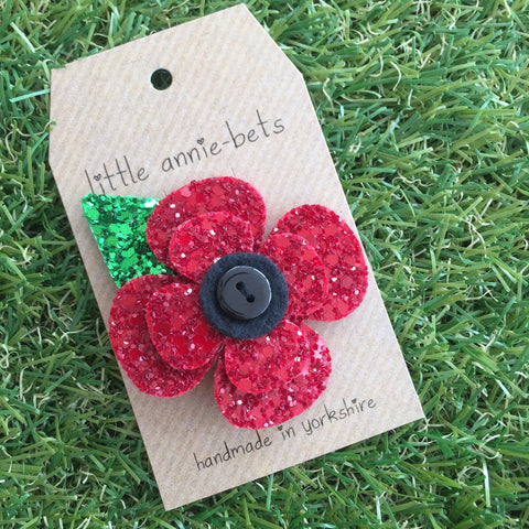Glitter Poppy with Leaf