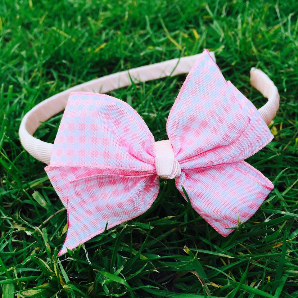 Baby Pink Gingham Alice Band