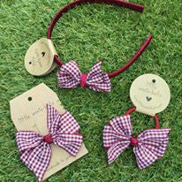 Deep Wine Gingham Pinwheel Bow