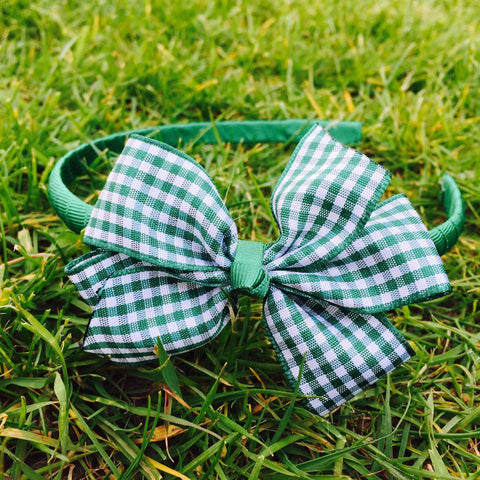Emerald Green Gingham Alice Band