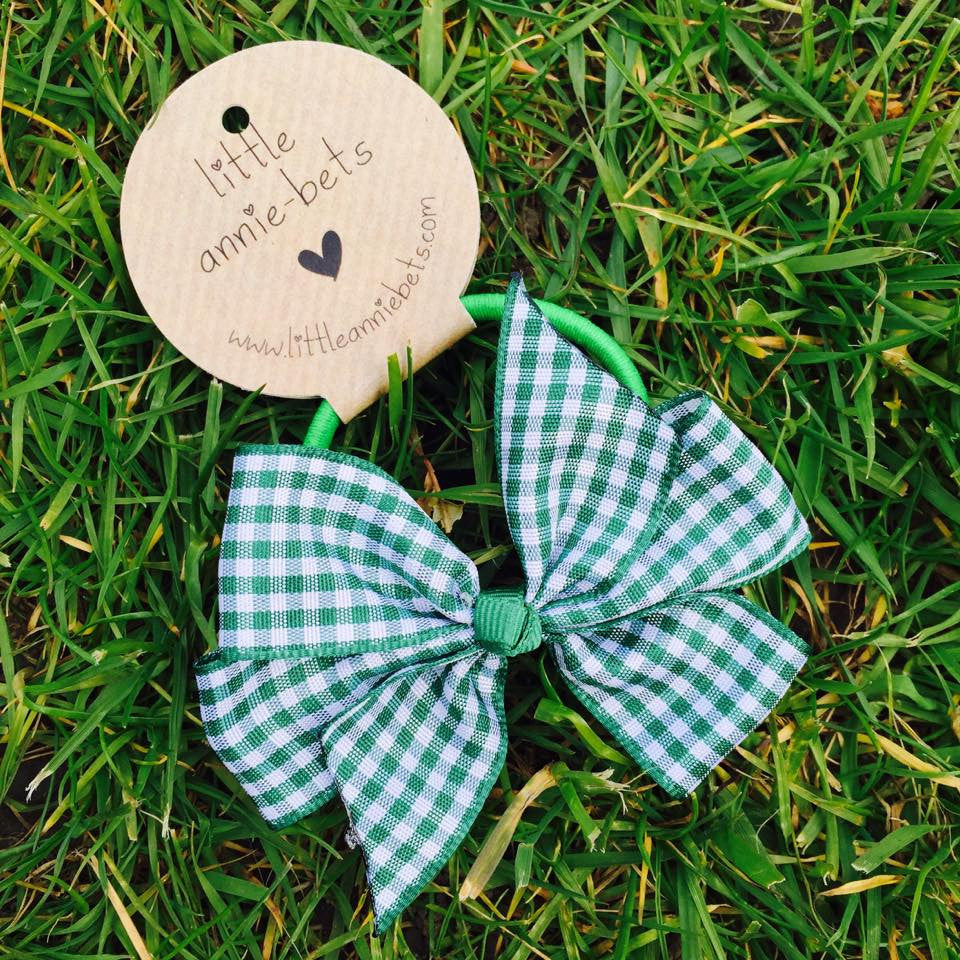 Emerald Green Gingham Bow