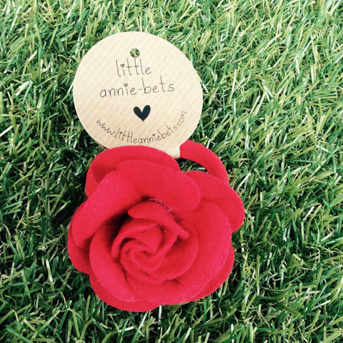 Large Red Felt Rose Hair Tie