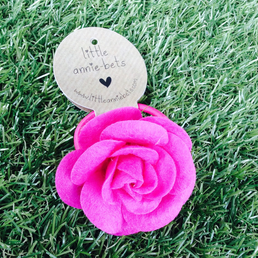 Large Hot Pink Felt Rose Hair Tie