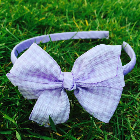 Lilac Gingham Alice Band