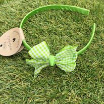 Lime Gingham Alice Band