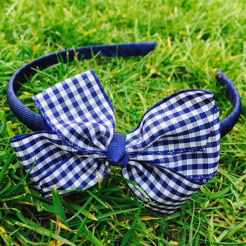 Navy Blue Gingham Alice Band