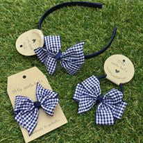 Navy Blue Gingham Bow
