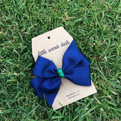 Navy & Emerald Small Pinwheel Bow Clip