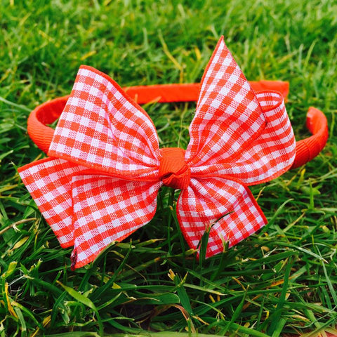Red Gingham Alice Band