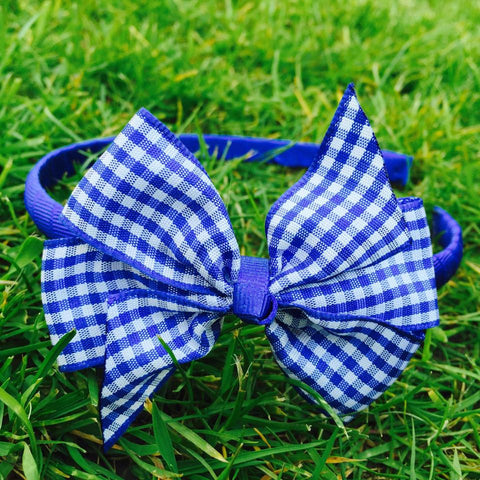 Royal Blue Gingham Alice Band