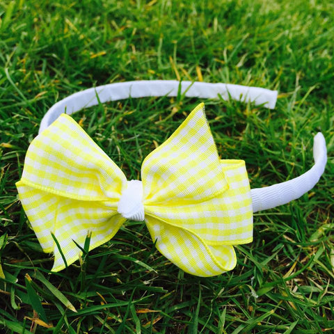 Yellow Gingham Alice Band