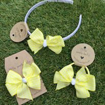 Yellow Gingham Pinwheel Bow