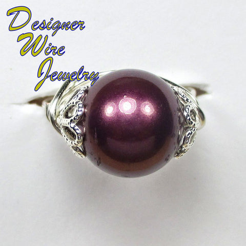 Beautiful Eggplant Purple Shell Pearl Artisan Silver Plate Wire Wrap Ring All Sizes