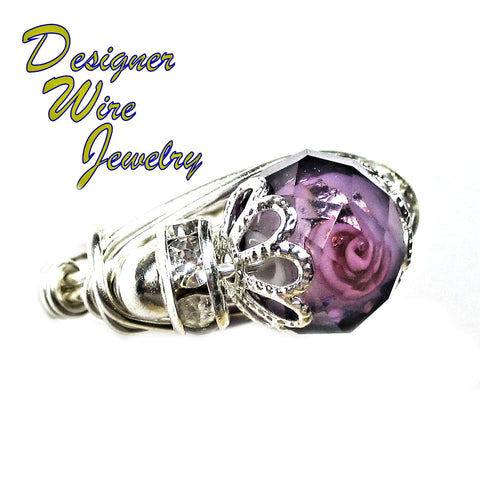Romantic Faceted Lampwork Rose Artisan Silver Plate Wire Wrap Ring All Sizes