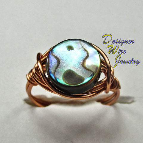 Natural Fiery Ocean Abalone Artisan Copper Wire Wrapped Ring All Sizes
