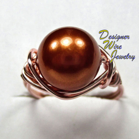 Elegant Copper Shell Pearl Artisan Rose Gold Tone Wire Wrap Ring All Sizes