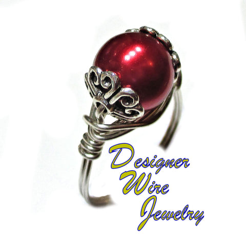 Elegant Black Cherry Pearl Artisan Silver Plate Wire Wrap Ring All Sizes
