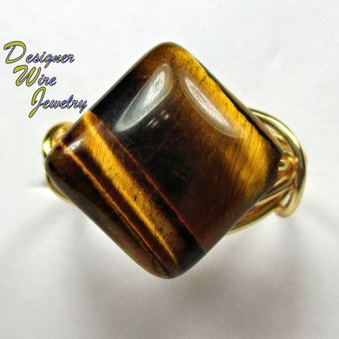 Genuine Gold Tiger Eye Solitaire Artisan Gold Tone Wire Wrap Ring All Sizes