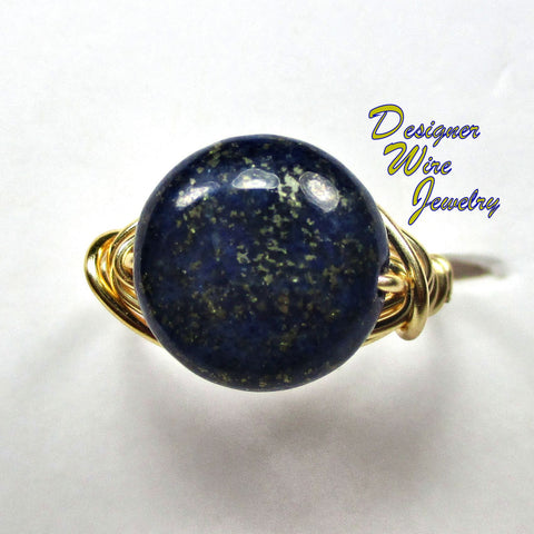 Blue & Gold Lapis Lazuli Solitaire Artisan Gold Tone Wire Wrap Ring All Sizes