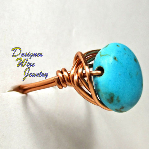 Blue Howlite Turquoise Coin Solitaire Artisan Copper Wire Wrapped Ring All Sizes