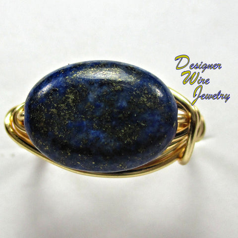 Blue and Gold Lapis Lazuli Solitaire Artisan Gold Tone Wire Wrap Ring All Sizes