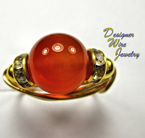 Beautiful Genuine Red Agate Solitaire Artisan Gold Tone Wire Wrap Ring All Sizes