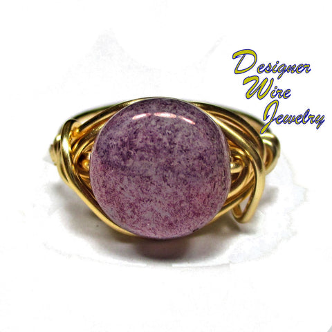 Stunning Czech Luster Wisteria Purple Artisan Gold Tone Wire Wrap Ring All Sizes