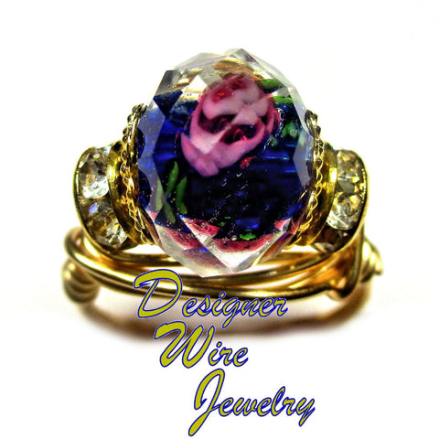 Faceted Crystal Cobalt Blue & Rose Artisan Gold Tone Wire Wrap Ring All Sizes