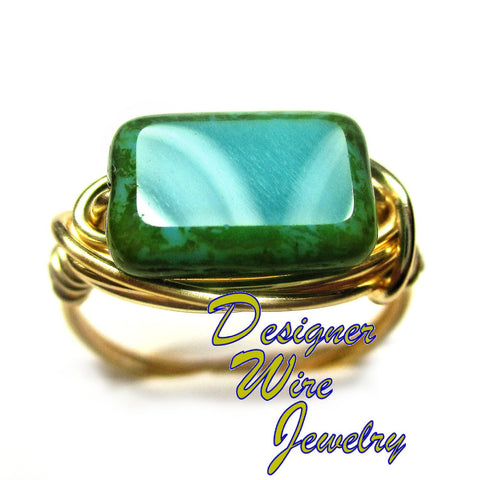 Lovely Czech Glass Turquoise Picasso Artisan Gold Tone Wire Wrap Ring All Sizes