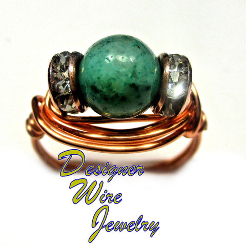 Lovely African Turquoise Solitaire Artisan Copper Wire Wrap Ring All Sizes
