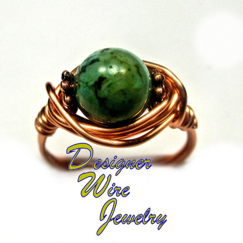 Stunning African Turquoise Solitaire Artisan Copper Wire Wrap Ring All Sizes