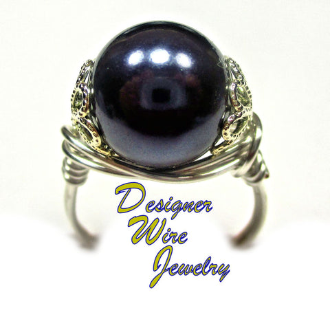 Gorgeous Twilight Shell Pearl Artisan Silver Plate Wire Wrap Ring All Sizes