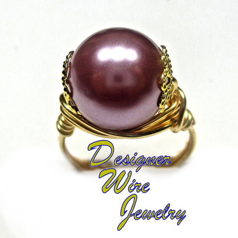 Exquisitely Elegant Lilac Shell Pearl Artisan Gold Tone Wire Wrap Ring All Sizes