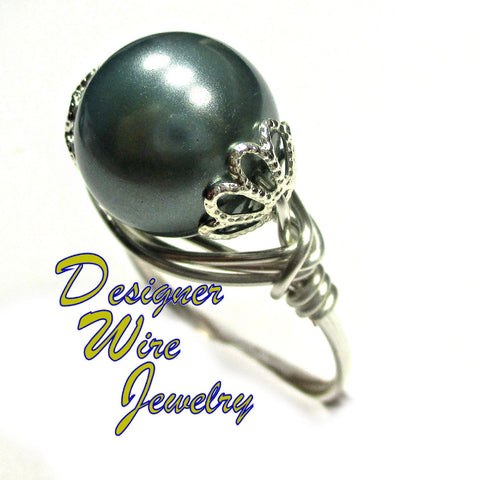 Elegant Slate Gray Shell Pearl Artisan Silver Plate Wire Wrap Ring All Sizes