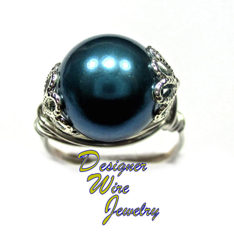 Stunning Marine Blue Shell Pearl Artisan Silver Plate Wire Wrap Ring All Sizes