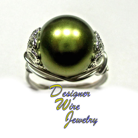 Gorgeous Olive Green Shell Pearl Artisan Silver Plate Wire Wrap Ring All Sizes