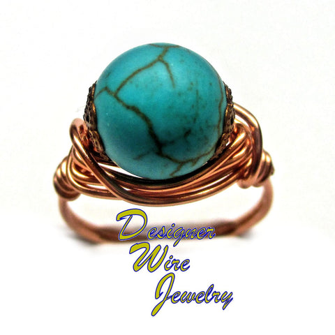 Lovely Southwest Turquoise Artisan Copper Wire Wrapped Ring All Sizes